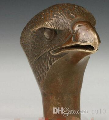 Chinese Old Bronze Hand Carved Dragon head Statue Cane Walking Stick Head