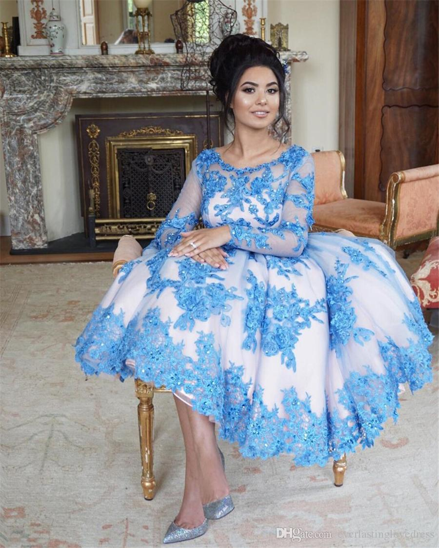 Long Sleeves Tea Length Ball Gowns Guest Dresses With Blue Lace Embroidery Homecoming Dress Crystals dress to party