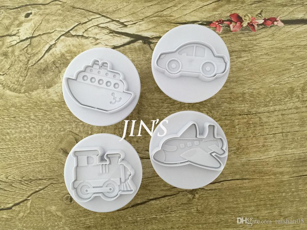4PCS/LOT Plane, Ship, Train, Car Sample Plastic Cookie Cutter, Fondant Cake Tools, Cake Decorating DIY Molds