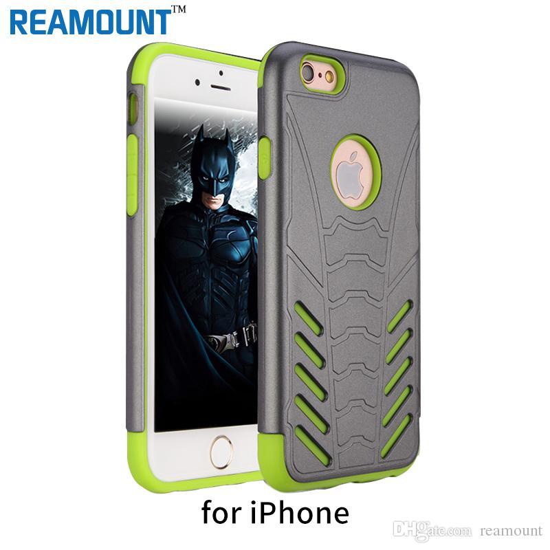 50 pcs batman capa para iphone 7 7 plus casos de telefone pc + tpu híbrido case para iphone 5 6 6 plus shell saco do telefone móvel fundas