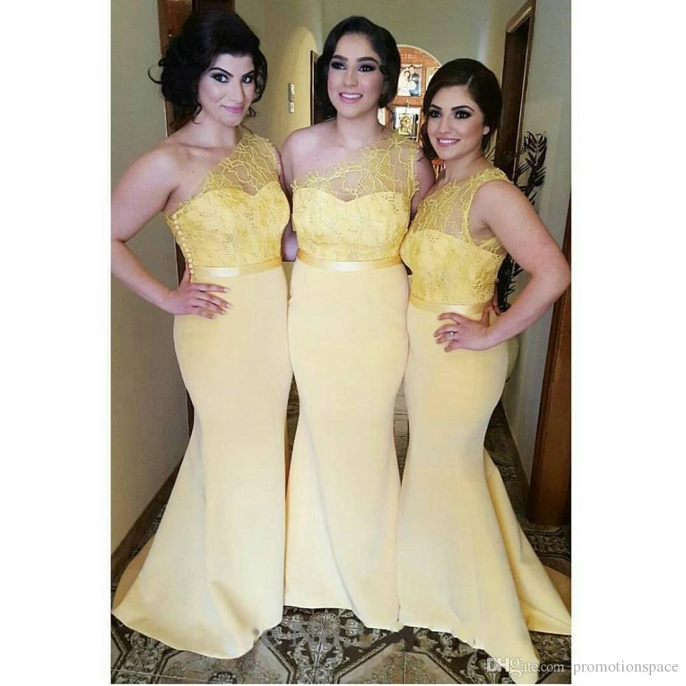 Sexy una spalla lungo giallo pizzo abiti da damigella d'onore 2017 Sexy sirena Junior Party Dress raso Plus Size vestido madrinha