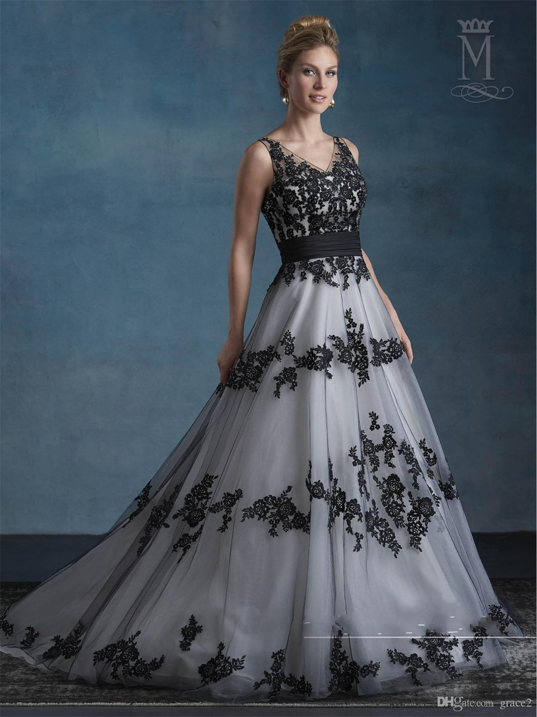 Black And White Wedding Dress.Discount Black White Wedding Dresses 2017 Mary S Bridal With V Neck And V Back Appliques Tulle A Line Brides Gowns Sleeveless Good For Garden Wedding