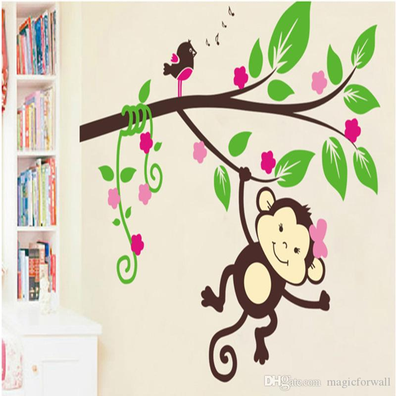 Cartoon Monkey Tree Branches Birds Music Note Wall Decals Home Decor Kids Room Nursery Decoration Wall Mural Poster Decorative Graphic