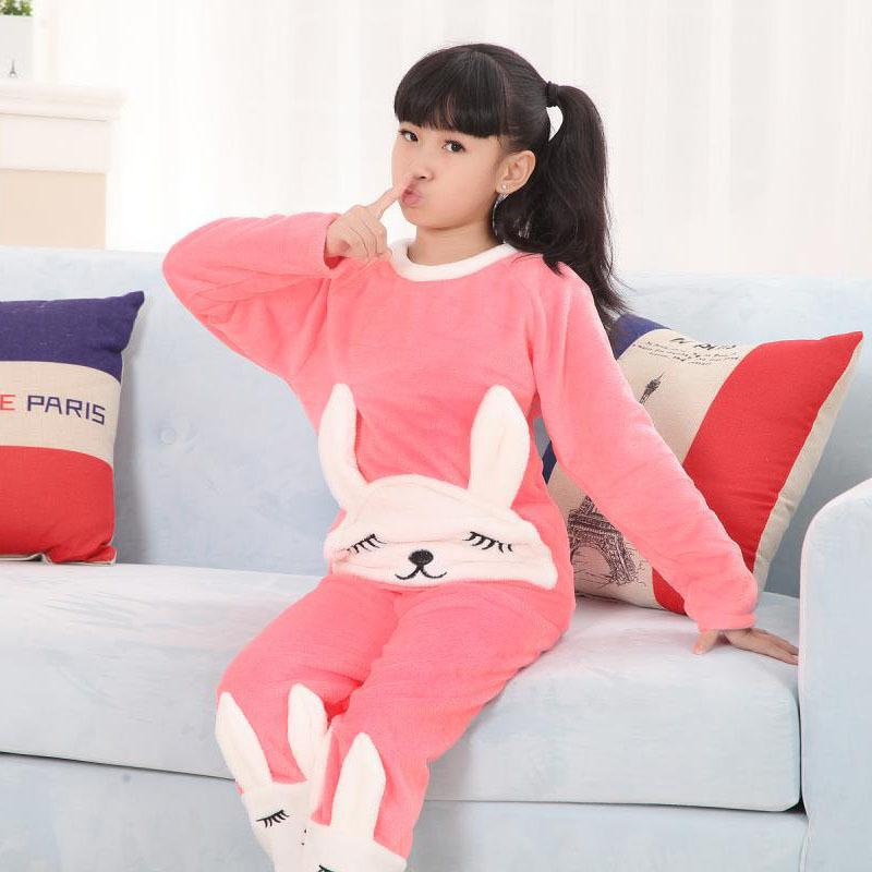 Cheap Children Thick Flannel Pajamas Winter Girls Sleepwear Suit ...