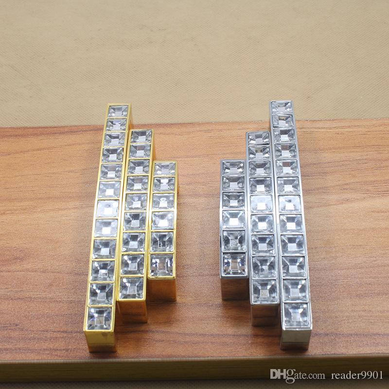 2017 Golden Silver Modern Zinc alloy crystal door knobs handle furniture cabinet kitchen mini drawer pulls pitch row 64 96 128mm #203