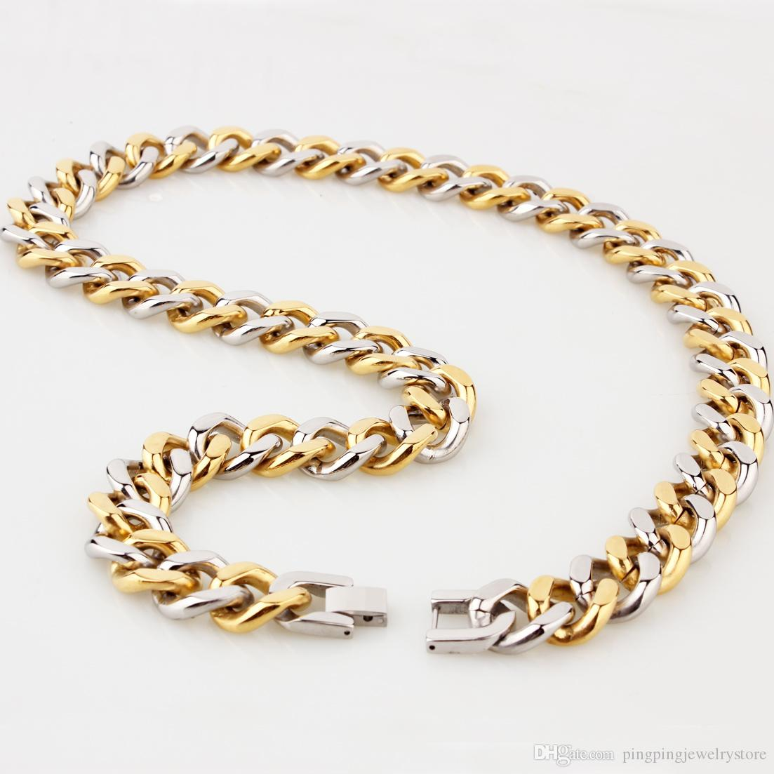 15mm Gold Plated 316L Stainless Steel Curb Bracelet Men Boys Chain Link Jewelry