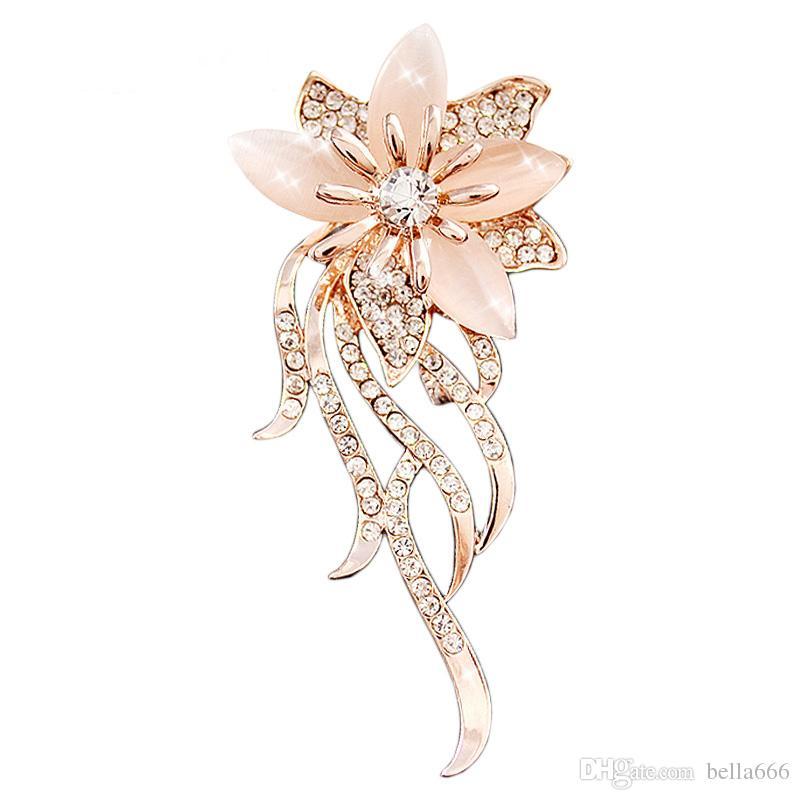 Brooch Flower Pearl Rhinestone Gold Plated Brooch FREE GIFT BAG