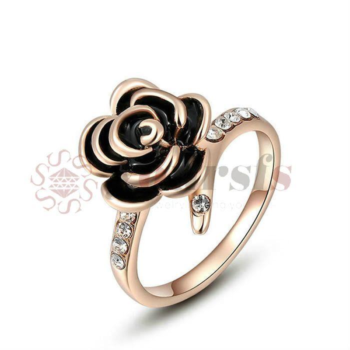 Yoursfs gold 585 nuovo design anelli di nozze fiore rosa per le donne romantiche rafforzamento predisposto ingaggiamento bague femme acquisti online in India