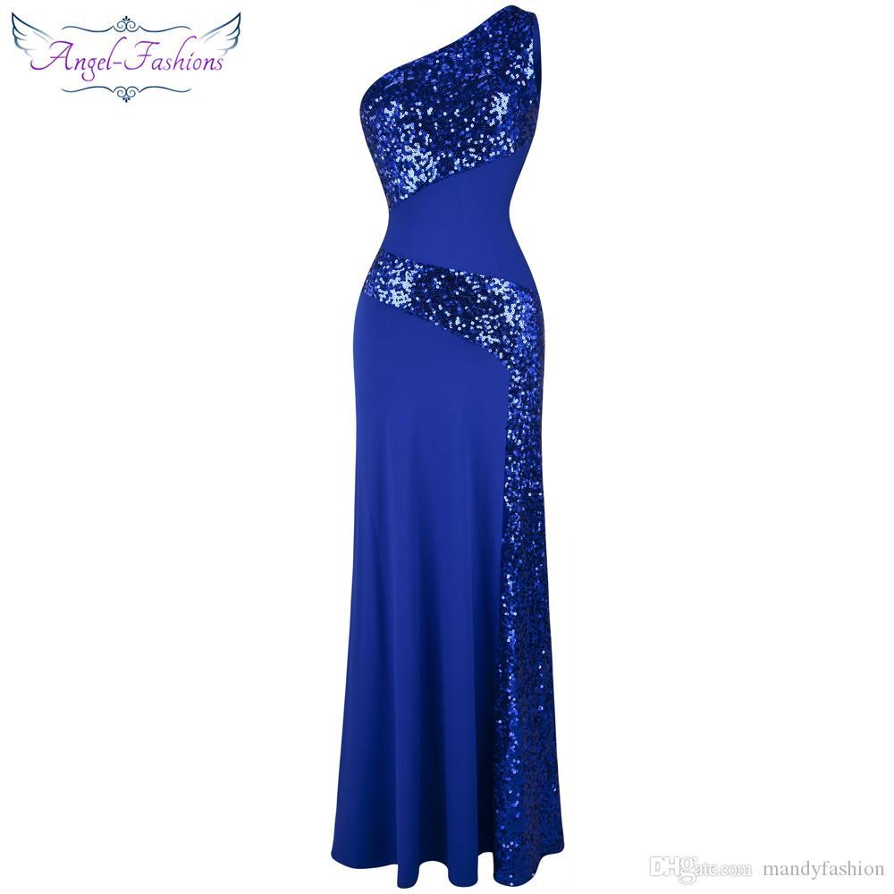 Ängel-Fashions Kvinnors Twinkling One Shoulder Sequins Collage Slim Maxi Party Dresses Prom Kappor Röd Carpet Dress 068