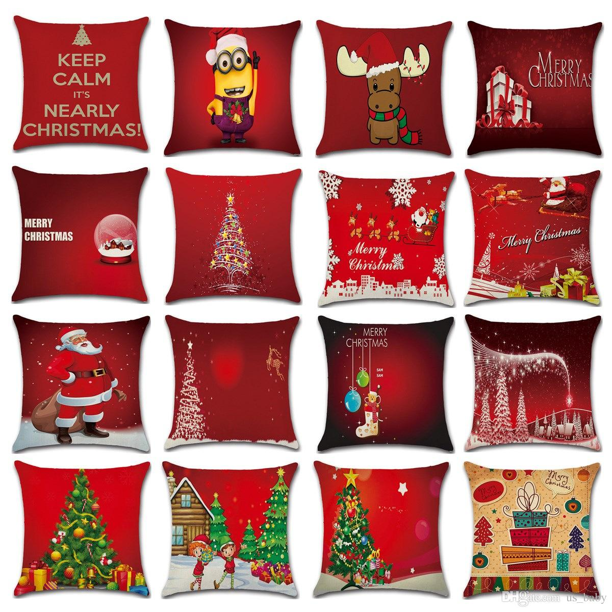 Christmas Pillows.Red Christmas Pillows Case Xmas New Year Christmas Tree Santa Claus Elk Cushion Covers Car Office Home Decorative Pillow Cover 16styles Pillow For