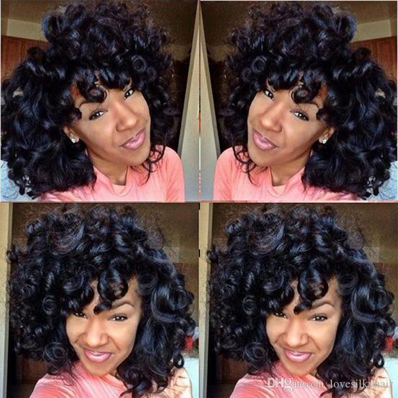 Top qualité afro vague pleine perruques simulation de cheveux humains pleine perruques livraison gratuite en stock