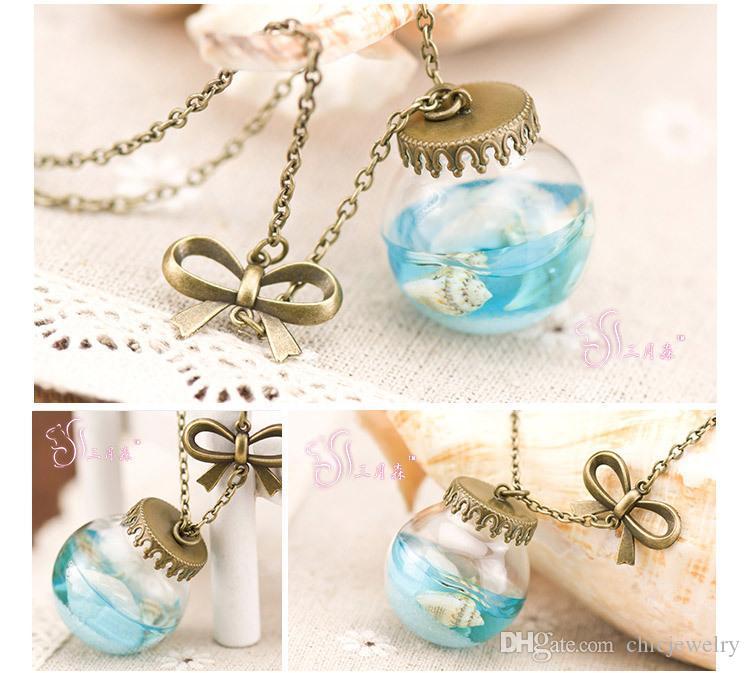 Anhänger Halsketten Frau Vintage handgemachten Schmuck Kette Halskette Sea Ocean Glasflasche Anhänger Mermaid Tears Shells Star Vial aktuelle Flasche