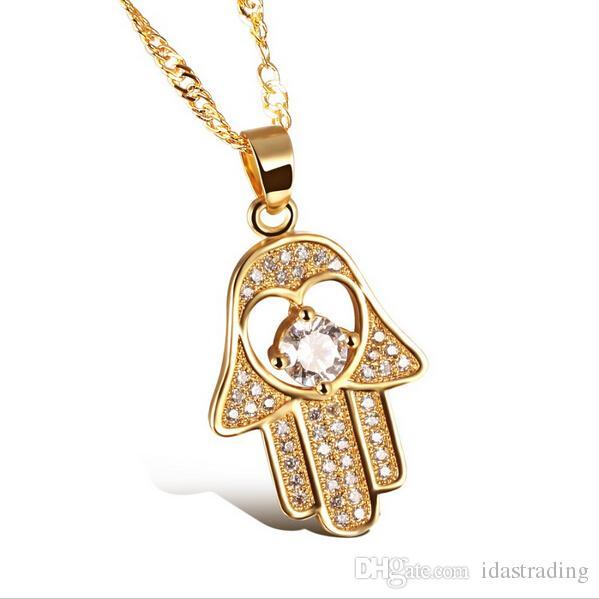 Fatima Hand Pendant Necklaces Antique Yellow Gold/Platinum Plated Women Man Religious Hot Fashion Hamsa Hand Jewelry