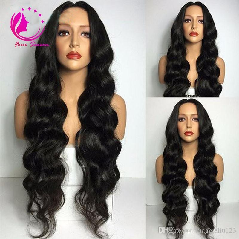 Virgin brazilian glueless silk top full lace wigs wavy silk top lace front human hair wig with baby hair for black women