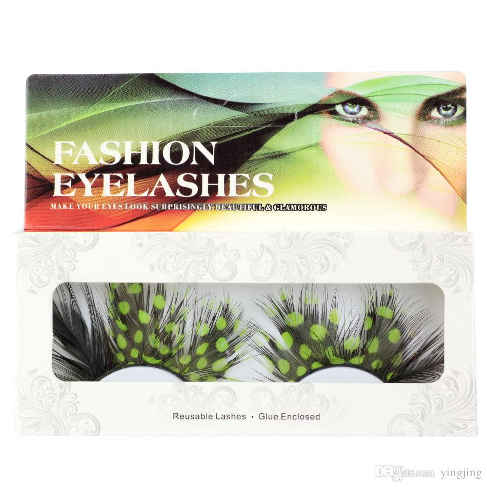 Exaggerated False Eyelashes 1 pair / Sets of Colorful Green Spotted Feathers False Eyelashes for Prty Makeup or Exaggerated Maquiagem