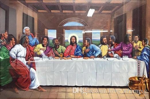 Enmarcado Negro afroamericano última cena de Jesucristo arte, pintado a mano la pintura al óleo en la calidad de la lona del tamaño de envío de múltiples FM002