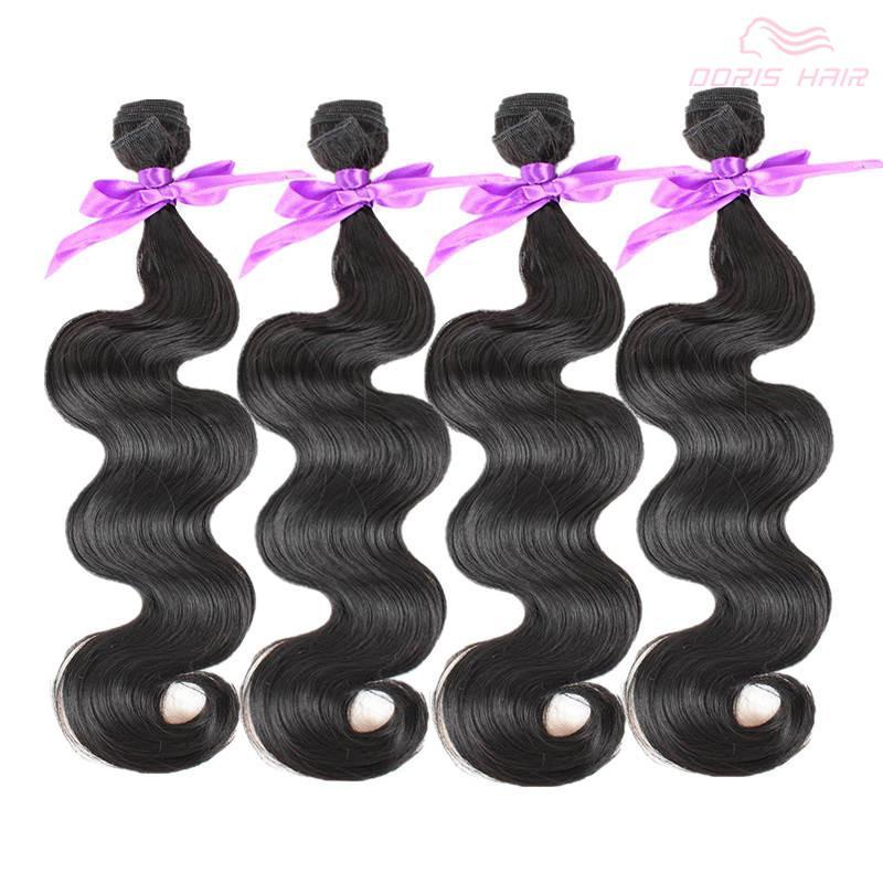 trasporto libero 4 fasci dell'onda del corpo tessuto dei capelli fibra naturale colore nero 1b per la testa piena sintetica a buon mercato trama dei capelli estensione del tessuto