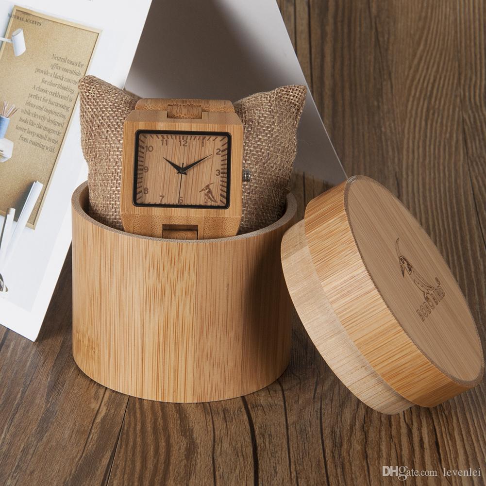BOBO BIRD L22 uomini popolari pieno di orologi di bambù rettangolo Caso orologi moda casual per uomo in scatola 100% bambooround