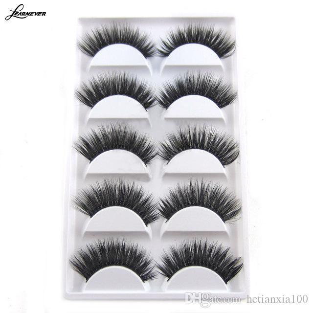 New 5 pares composição luxuoso 3D pestanas falsas da Cruz Natural olho longo Lashes