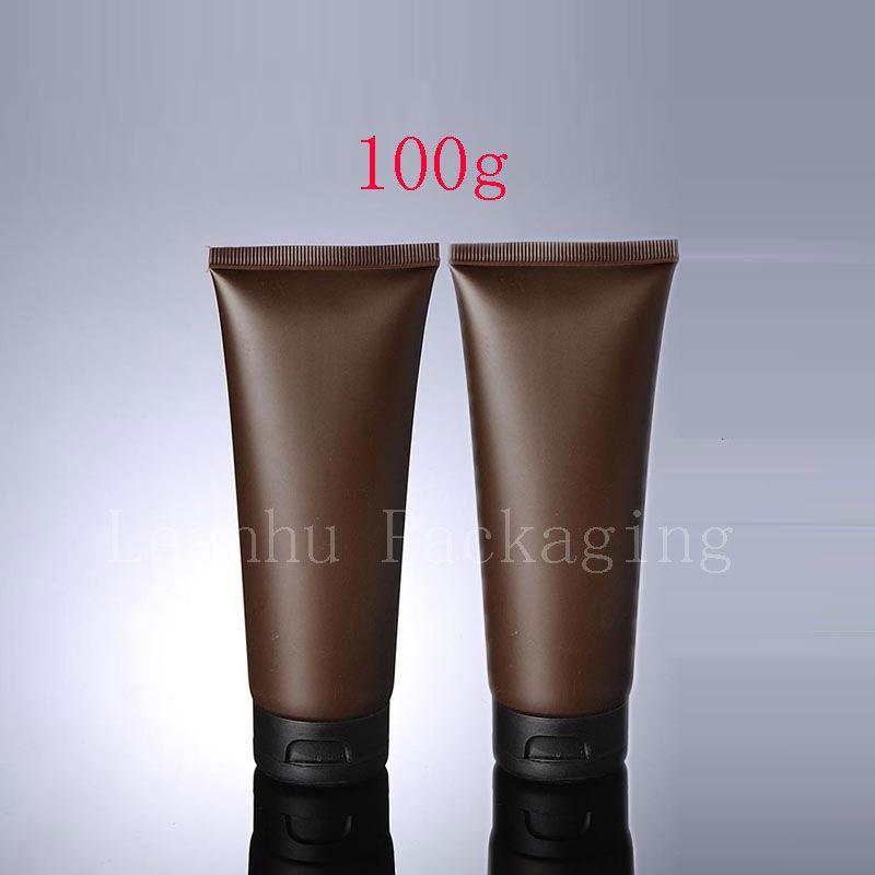 100g X 50 Boş Kahverengi Yumuşak Tüp Kozmetik Ambalaj Için 100 ML Losyon Krem Plastik Şişe Cilt Bakım Kremi sıkmak Konteynerler Tüp