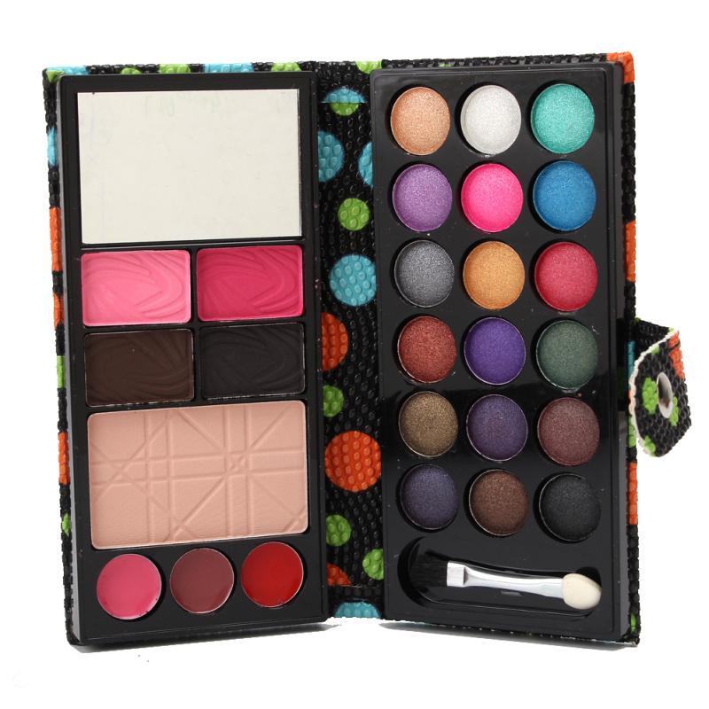 Toptan-Moda Kadınlar Bayanlar Su geçirmez Göz Farı Kaş Pudra Allık Yukarı Palet Polka Dot Pu Cüzdan Ayna Vaka 26 Renkler olun
