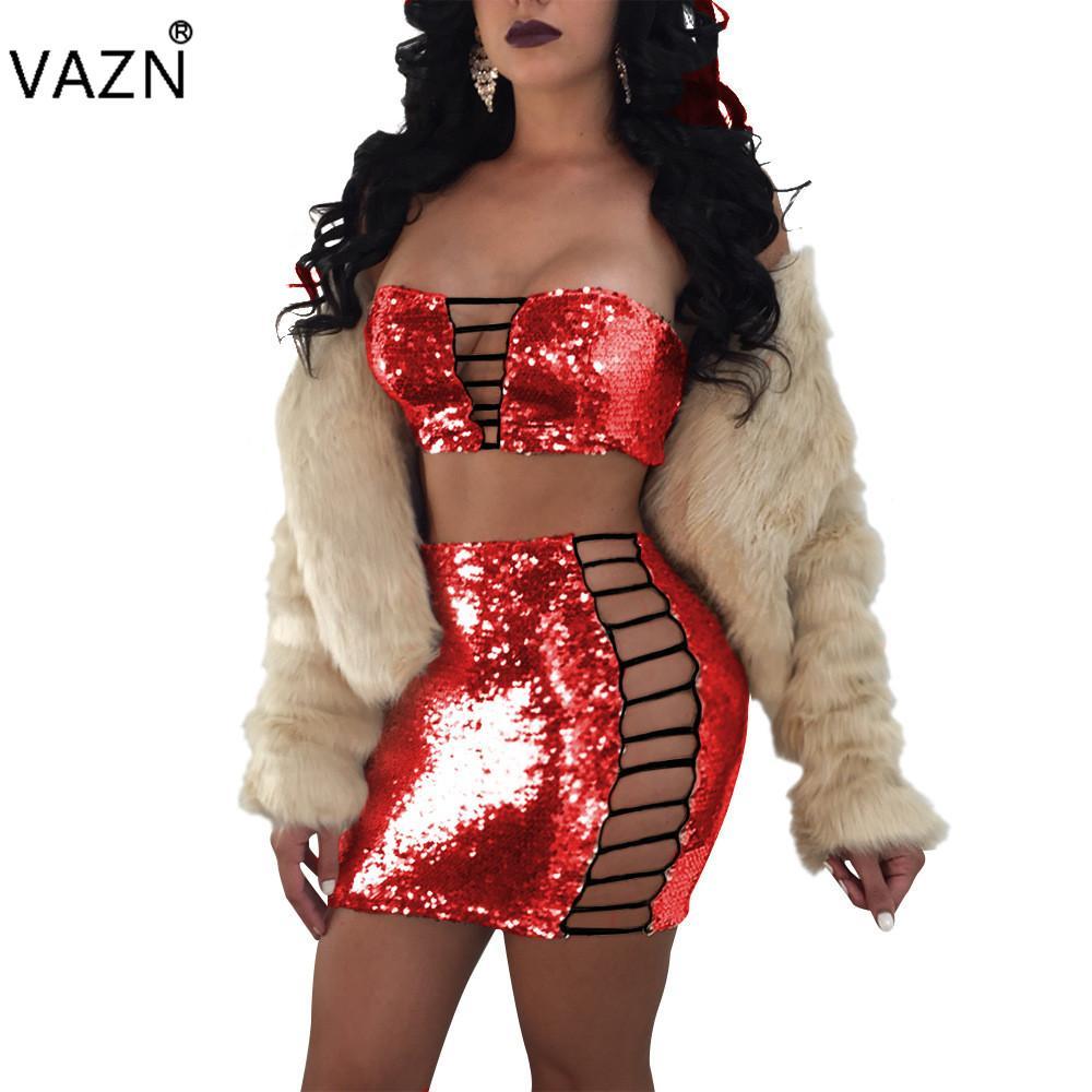 VAZN Neu Kommen Beste Qualität 2018 Figurbetontes Kleid Sexy Trägerlosen Club Kleid Aushöhlen 2 Stück Mini Verbandkleid JZ158 q1118