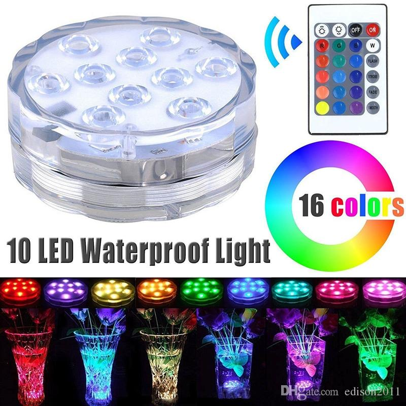 Edison2011 2017 Hot Sale 10 LED Submersible Light Waterproof Candle Tea Vase Base Light with Remote Control Bright Lamp Blub RGB