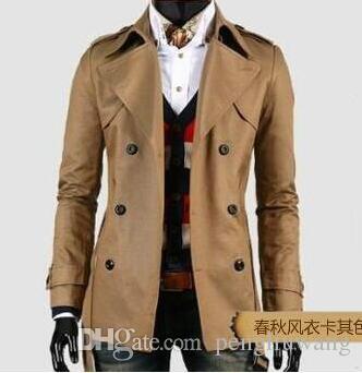 Мода новый дизайнер тонкий плащ мужчины средней длины пальто с длинным рукавом мужская одежда бизнес верхняя одежда casaco masculino