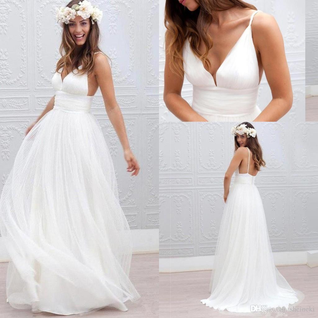 discount 2017 cheap summer beach bohemian a line wedding dresses sexy v  neck tulle long floor length plus size backless formal bridal gowns under  100