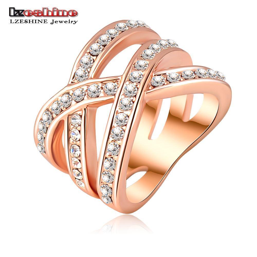 Lzeshine moda verão jóias do punk anel de ouro rosa / prata banhado austríaco cristais mulheres anéis jóias bague femme ri-hq0120