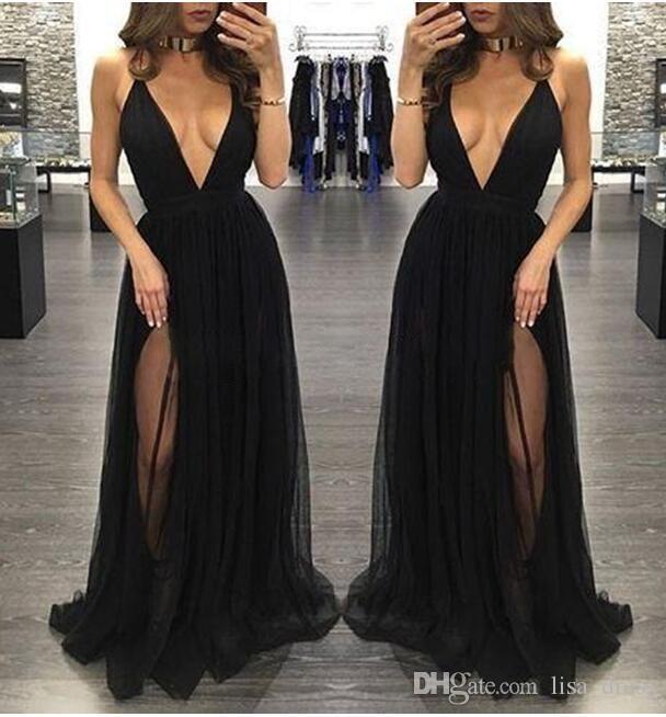 Nouvelle Mode Noir Sexy Robes De Bal 2017 En Mousseline De Soie Profonde Col En V Dos Nu Côté Robes De Fête De Soirée De Mode Halter Criss Cross Pas Cher Personnalisé