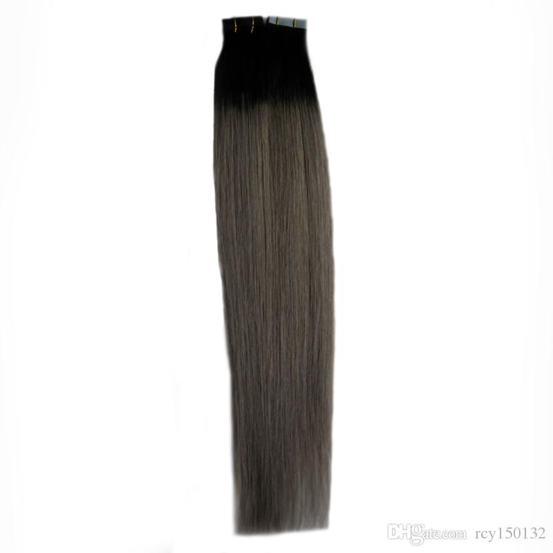 Silver ombre Tape in hair extensions human 100g 40pcsT1B/grey two tone rey ombre human hair Skin Weft hair extension