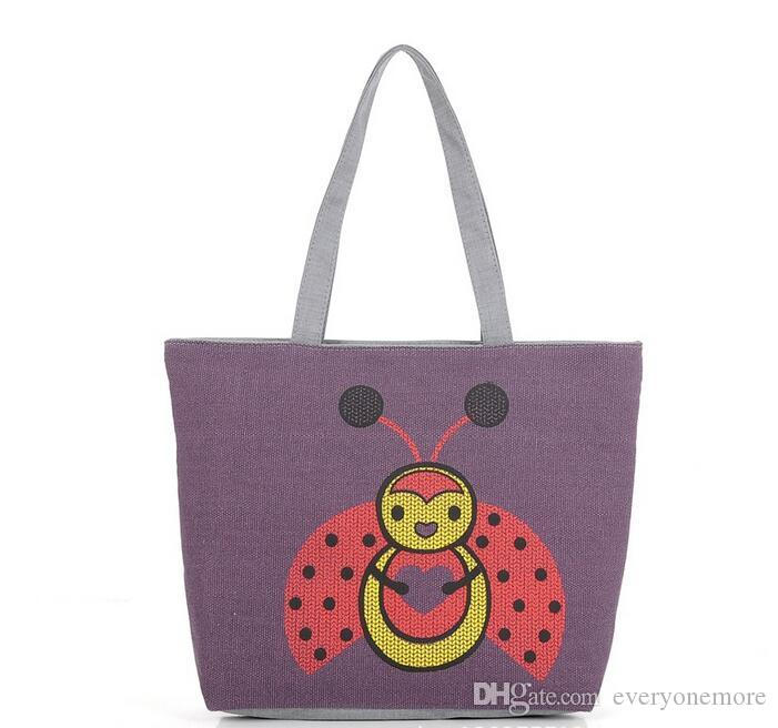 Ladybug Animal Tote Bags Canvas Shoulder Handbag Satchel Purse Bag Womens