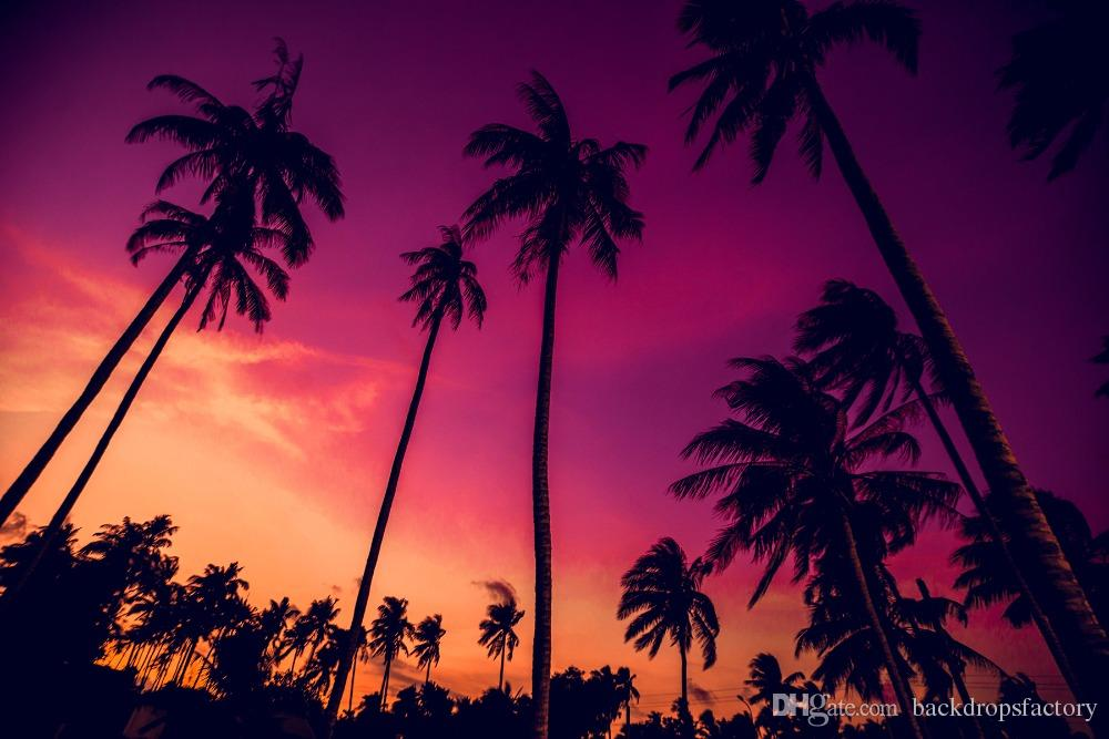 2019 Beautiful Purple Sky Palm Trees Sunset Beach Photography Background  Nightfall Scenic Wallpaper Summer Holiday Wedding Photo Backdrops 10x8ft  From
