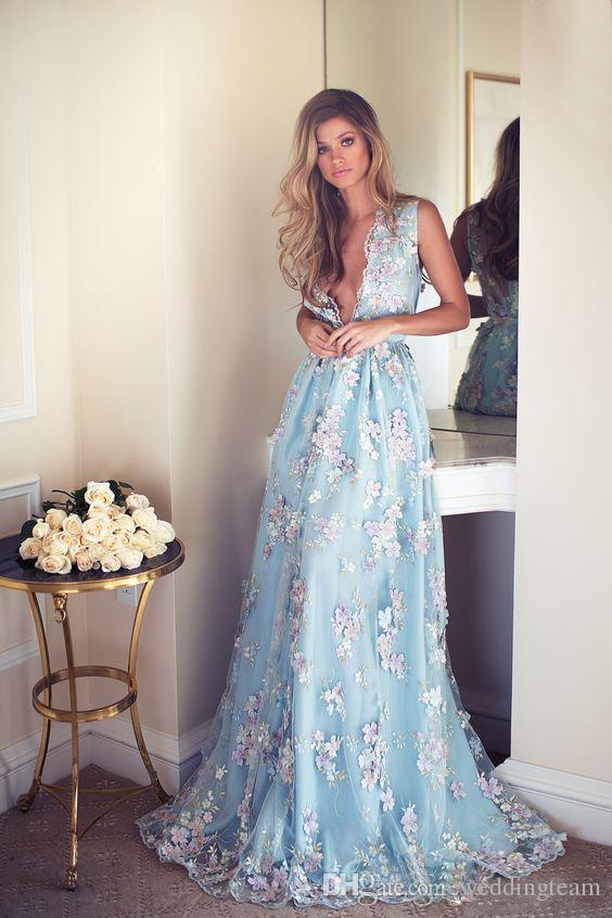 Moda 3D Floral Appliqued Vestidos de Baile Longo Profundo Decote Em V Vestido de Festa Até O Chão Ilusão de Volta Tule Vestidos de Noite Formal