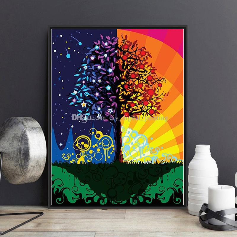 2019 Diy Painting By Numbers Kits Acrylic Paint New Fortune Tree On Canvas Hand Painted Oil Painting For Wall Art Work For Living Room Decor From