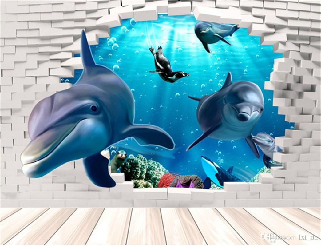 3d dolphin wall mural vinyl decal removable wall sticker art room 3d dolphin wall mural vinyl decal removable wall sticker art room decor amipublicfo Image collections