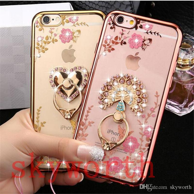 Bling Diamond Ring Holder Case Crystal TPU for Iphone 11 X XR XS Max Samsung Galaxy S8 S9 S10 Plus Note 10 Kickstand