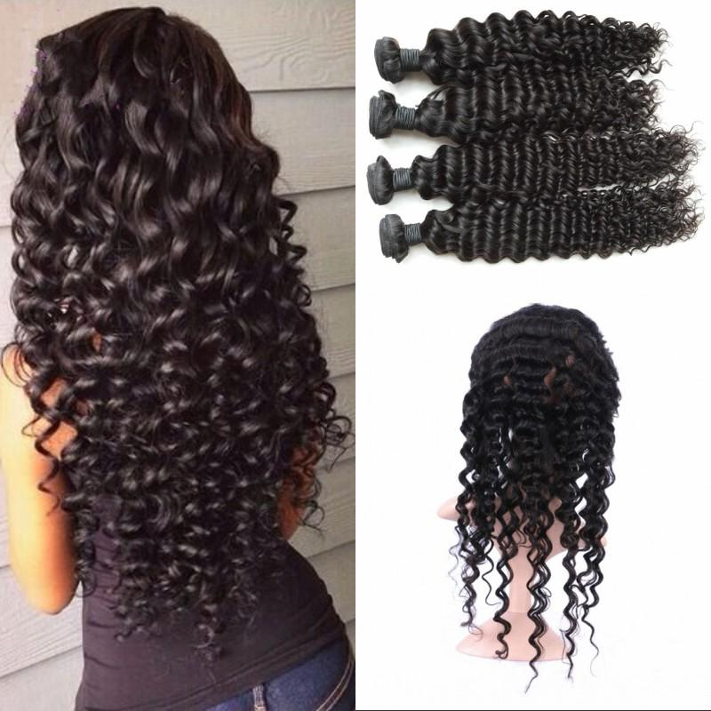 360 Curly Lace Frontal with 4 Bundles Brazilian Human Hair Weaves Deep Wave with 360 Frontal 130% Density FDSHINE