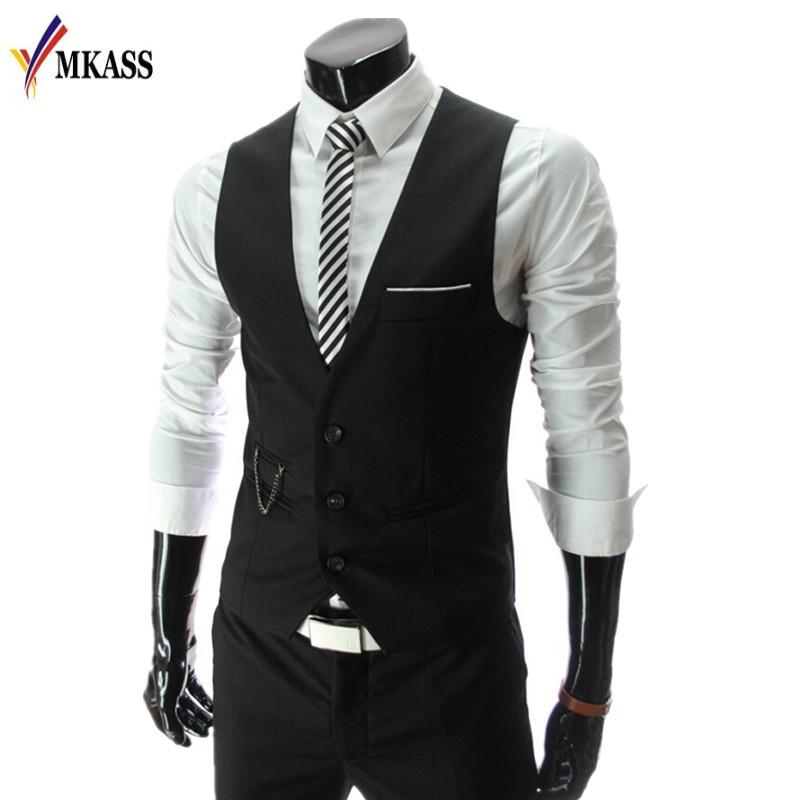 Wholesale- Fashion 2017 New Arrival Men Suit Vests Men's Fitted Leisure Waistcoat Casual Business vests Tops Three Buttons 4 color M-4XL