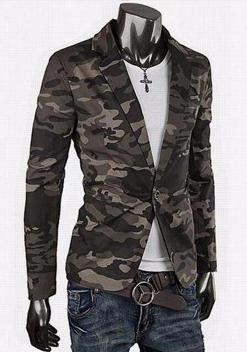 남자 한 판 비즈니스 레저 패션 영국의 부티크 성격 면화 위장 재킷 / M - 2XL의 새로운 트렌드