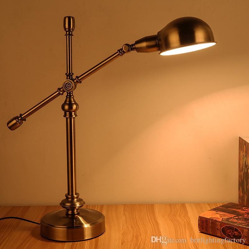 Stile europeo creativo led lampada da lavoro comodino camera da letto lampada da scrivania studio comodino americano rurale retrò rame antico decorazione del negozio lampada da tavolo