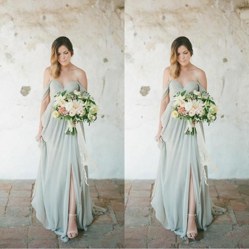 Summer Boho Bridesmaid Dresses 2017 Elegant Long Dress For Wedding Party Chiffon Off Shoulder Side Slit