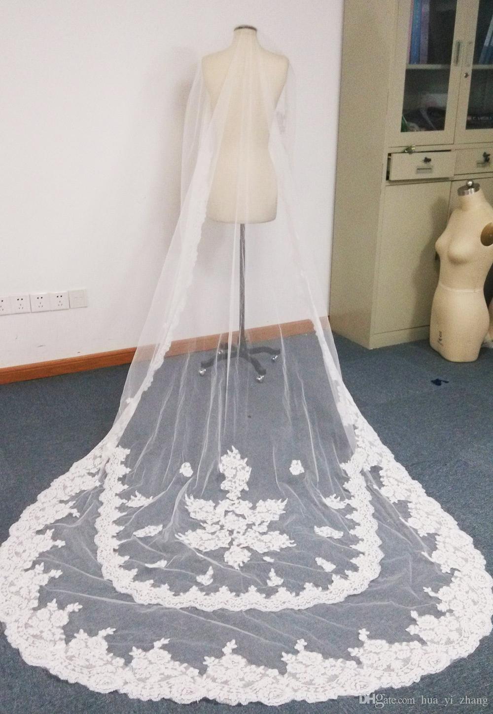 2016 skräddarsydda elfenben eller vit färg ett lager regal längd spets trimmad långa brudslöjor dhyz 01