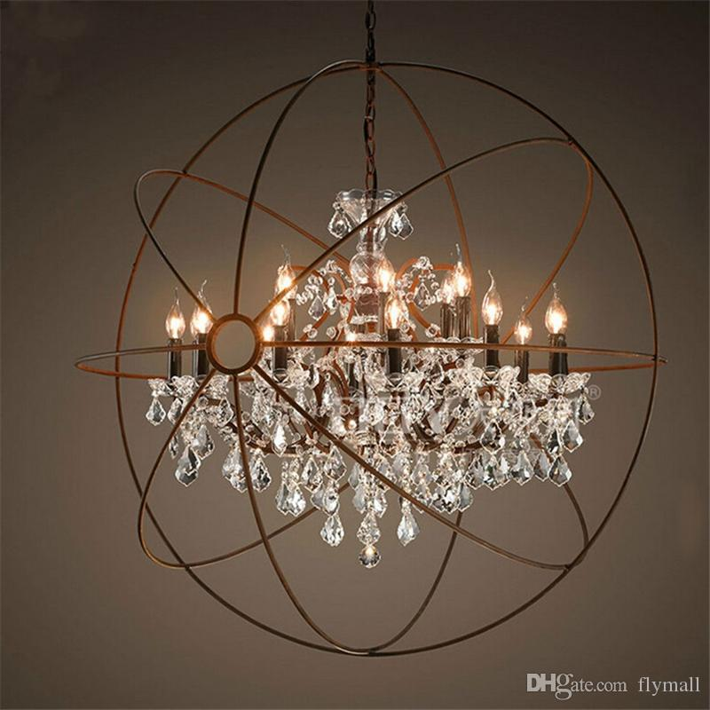 Country Hardware Vintage Orb Crystal Chandelier Lighting RH Rustic Iron Candle Chandeliers Light Globe LED Lámpara colgante Decoración del hogar