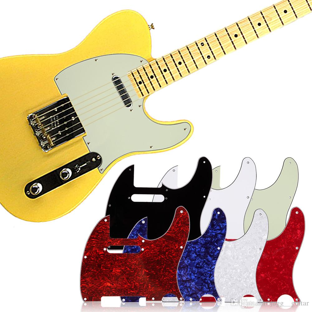 Scratch Plate Standard Size 3 Ply White Pickguard for Tuff Dog Tele Telecaster Electric Guitar Multi Colors 3Ply Aged Pearloid Pickguard