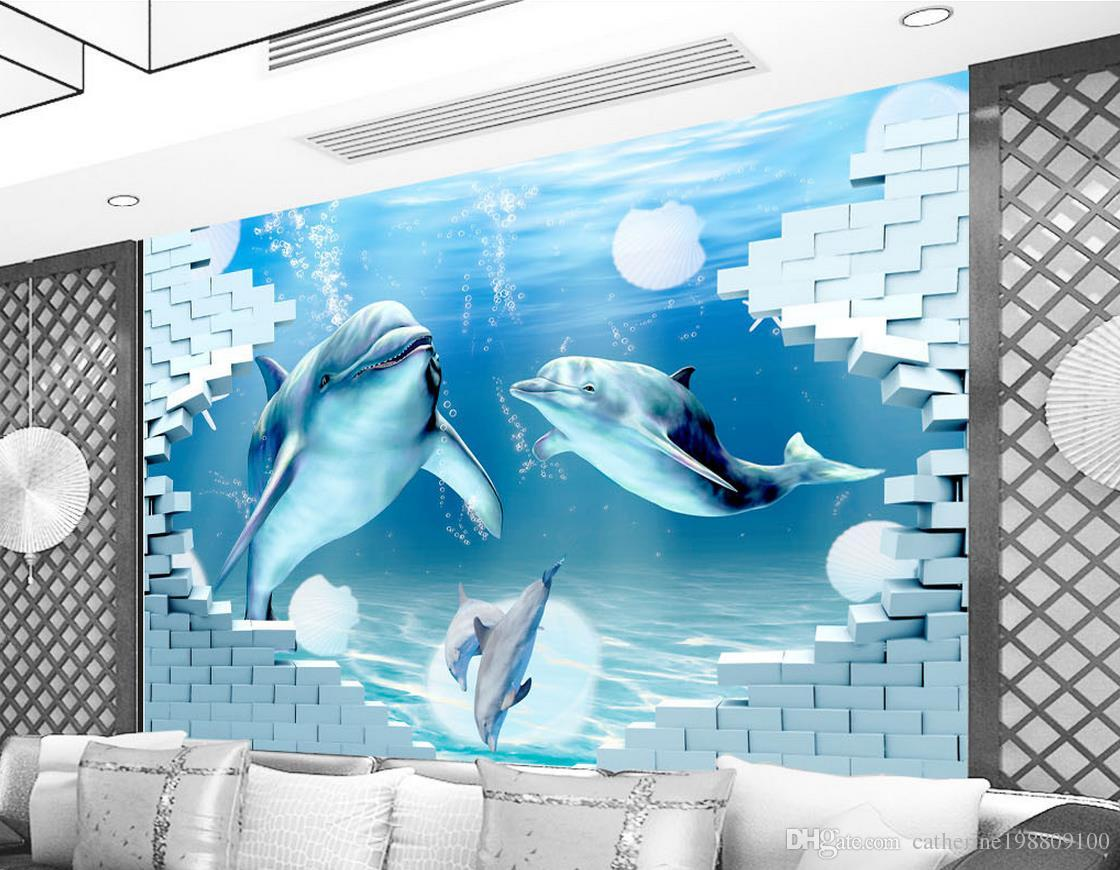 Dolphin Deep 3d Ocean Museum Background Wall Mural 3d Wallpaper 3d Wall Papers For Tv Backdrop Women Wallpapers Xmas Wallpaper From