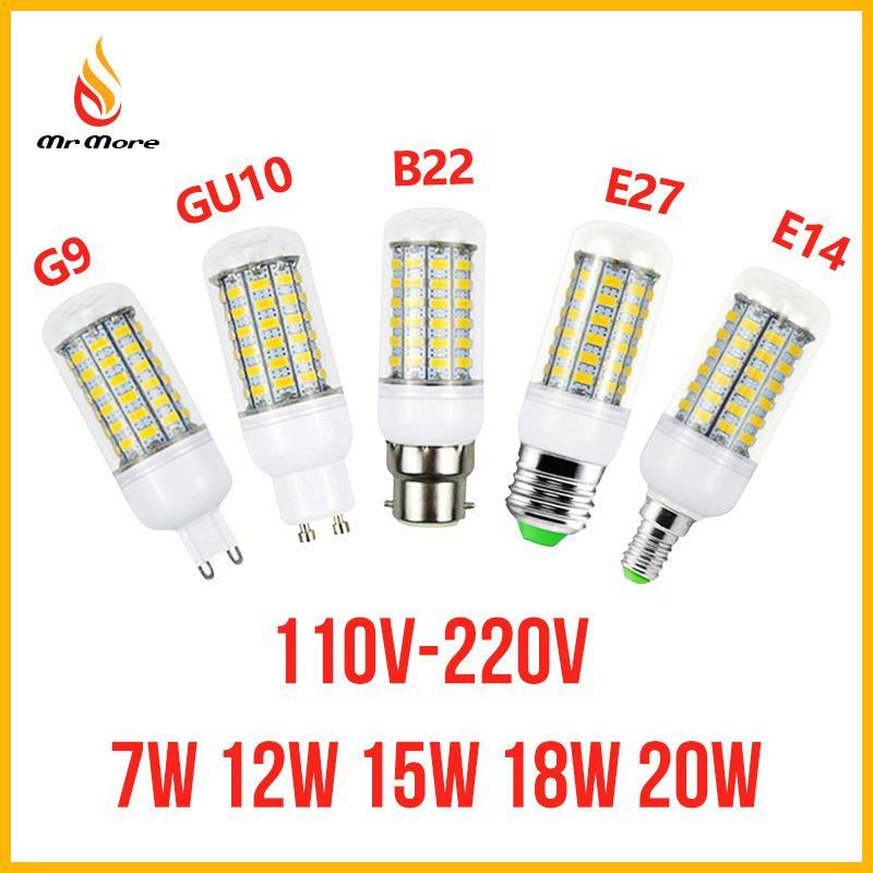 SMD5730 E27 GU10 B22 E14 G9 LED lamp 7W 12W 15W 18W 220V 110V 360 angle SMD LED Bulb Led Corn light 24LED