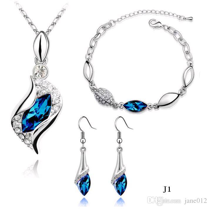 New Arrival Austrian crystal Necklace Earrings Bracelet Sets Blue Diamond Shoe Jewelry set for New Year Party Free shipping