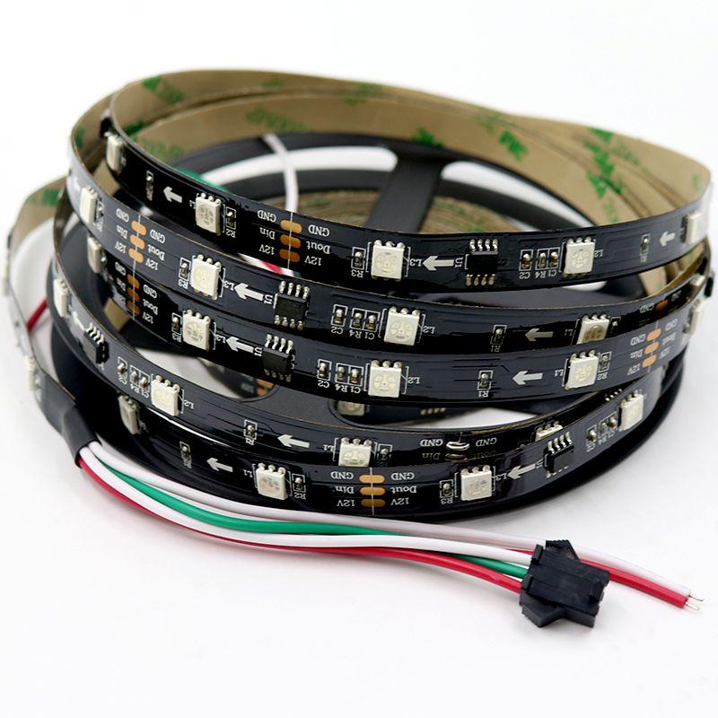 5M adreslenebilir RGB LED şerit ws2811 ışığı piksel 5050 LED şerit 12v dijital renkli 30leds siyah baskılı devre kartının IP20 esnek bir şerit 10pixels ışıklar yol